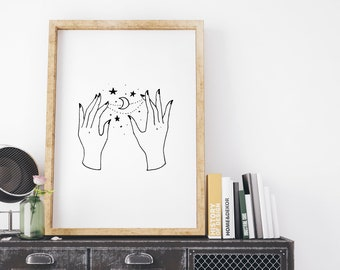 Hands with Stars and Moon // Illustrated Astrology Print // Celestial Wall Art