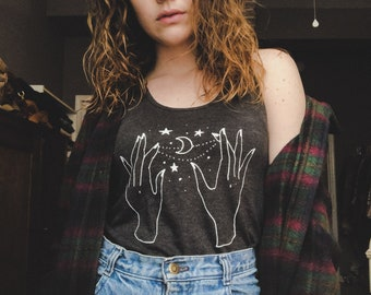 Hands with Stars and Moon Tank Top // Astrology Graphic Tee // Illustrated Star Hands Shirt