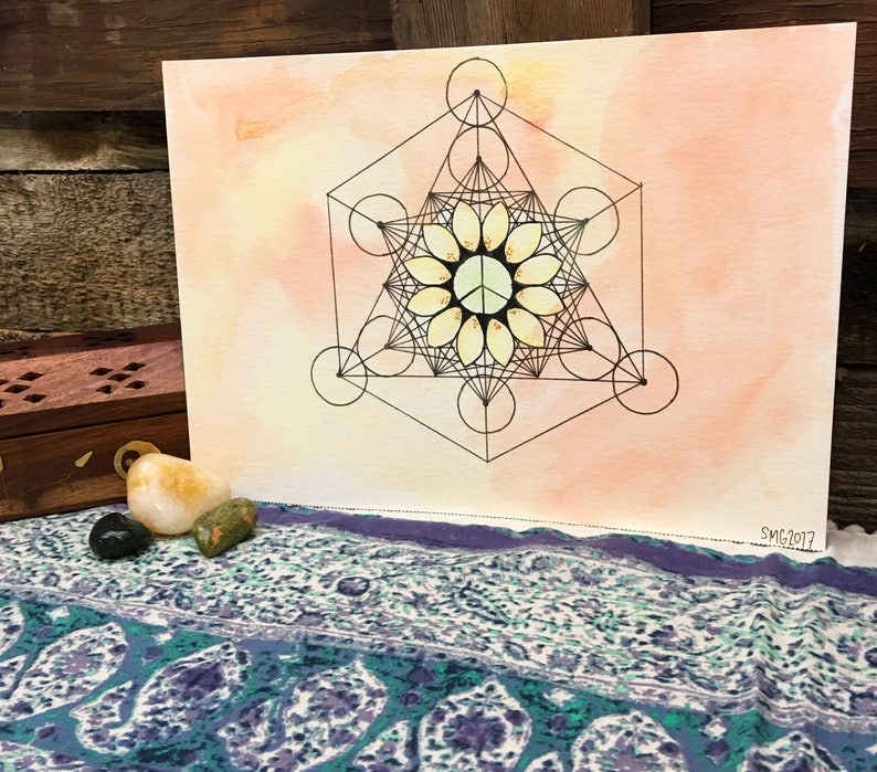 Sacred Geometry Small Crystal Grid, Mandala with Peace Symbol Bright Summer  Colors 7x10