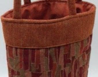 Wine Bottle Tote Bag - Rust Multi-Colored