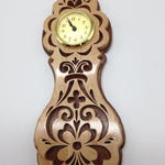 Handmade Wood Fretwork Rosemaling Wall Clock Scroll Saw Art Maple Walnut Quartz Movement