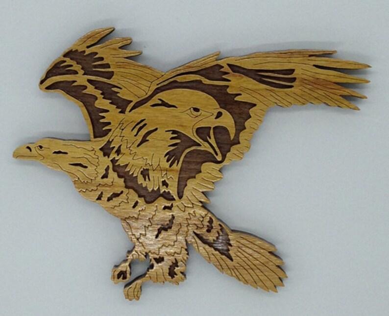 Handmade Wood Natures Majesty Eagle Wildlife Fretwork Plaque image 0