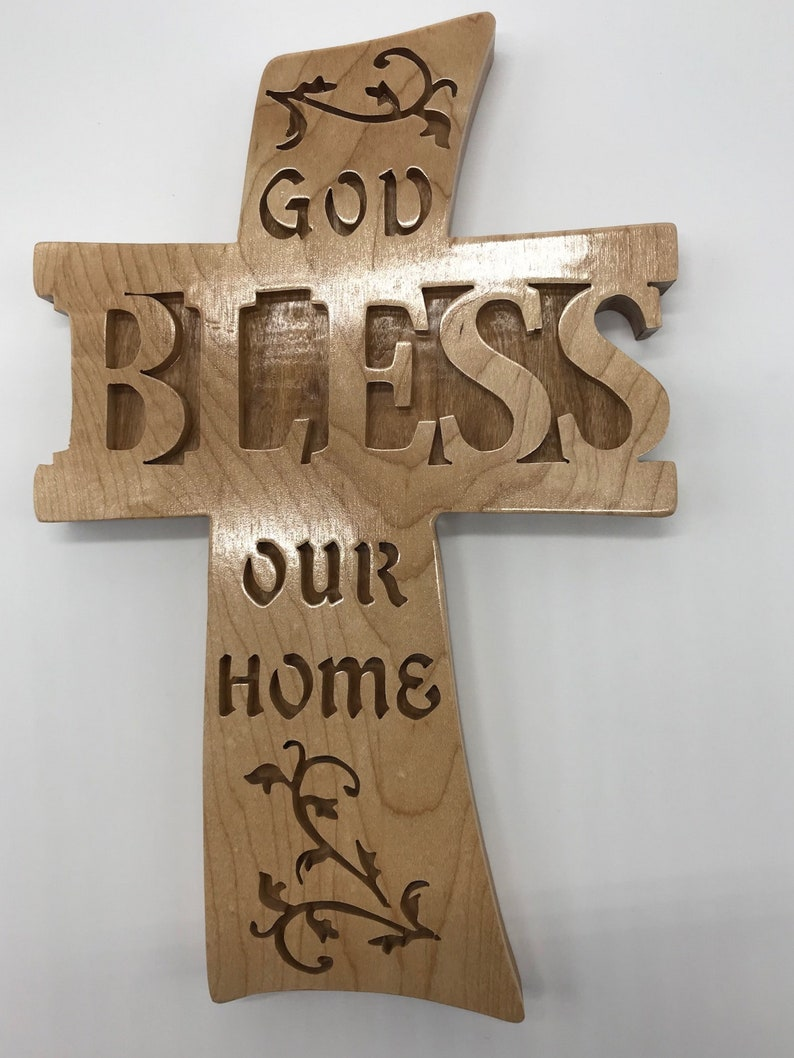 Handmade Wood God Bless Our Home Housewarming Wedding image 0