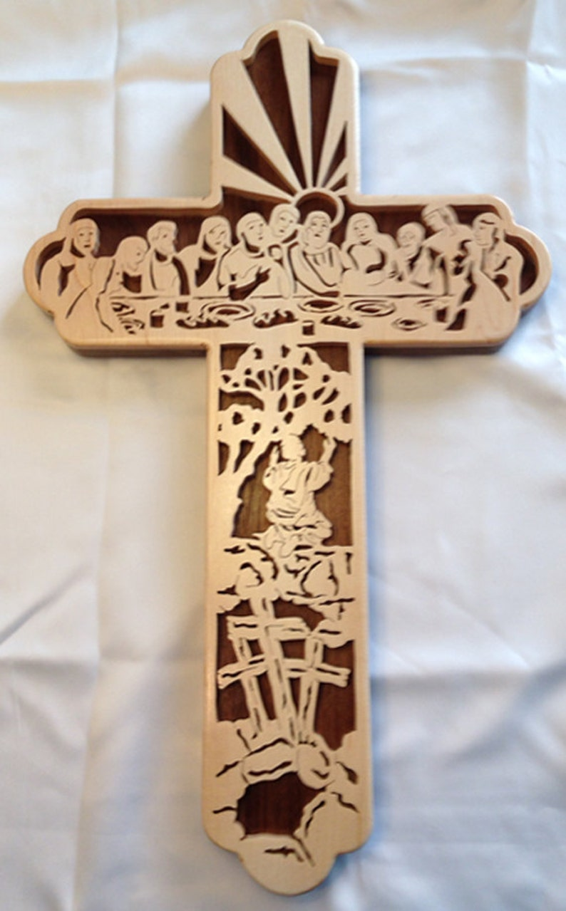 Handmade Wood Fretwork Last Supper Bible Story Christian Wall image 0