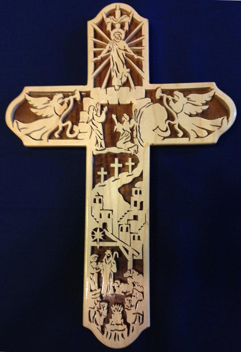 Handmade Wood Fretwork Ascension  Bible Story Christian Wall image 0