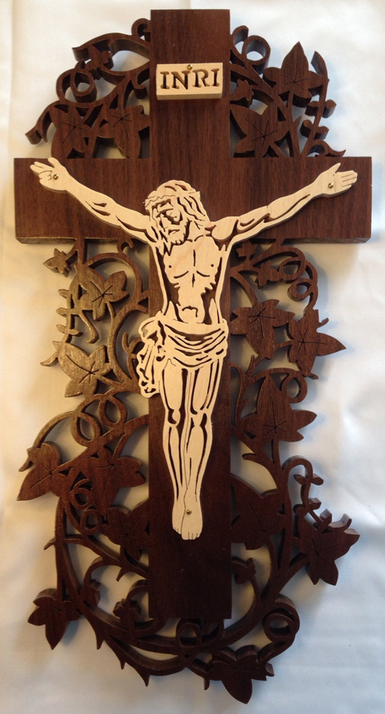 Handmade Wood Fretwork Vine Cross Crucifix Christian Wall image 0