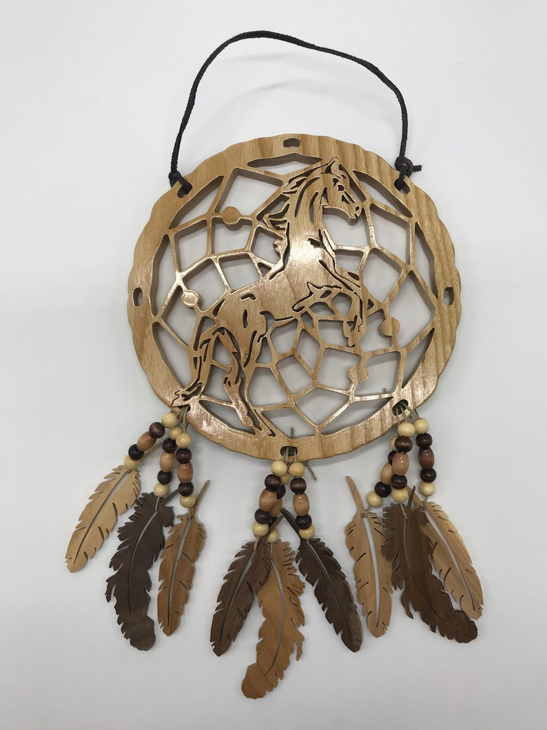 Handmade Wood Rearing Horse Dream Catcher with Wood Feathers & image 0