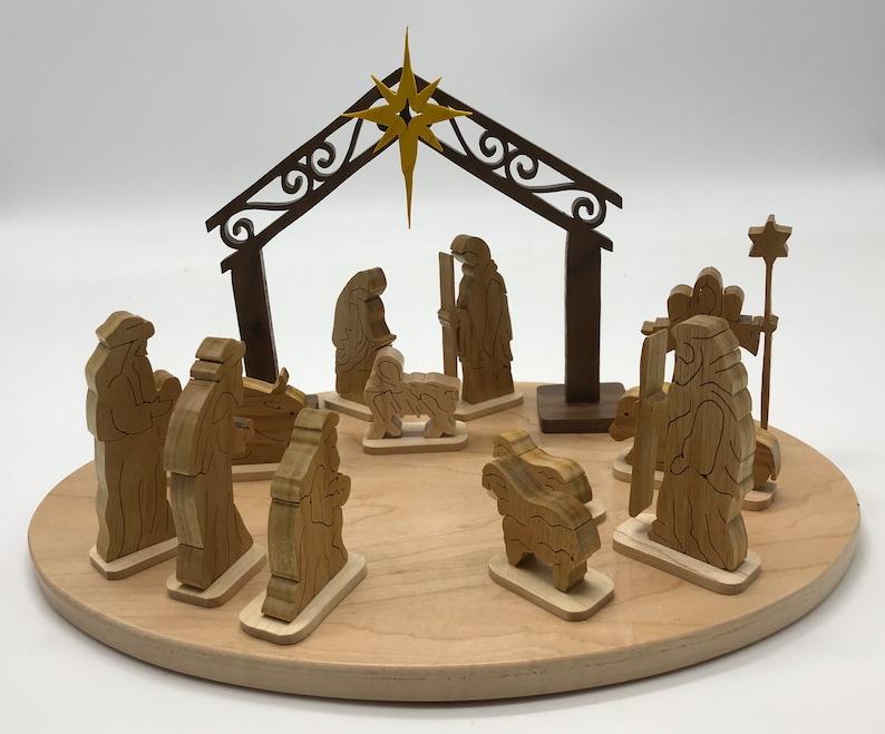 Handmade Wood 13-piece Nativity Set and Base Fretwork Scroll image 0