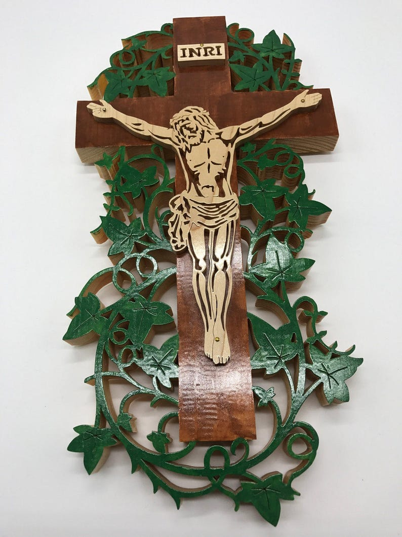 Handmade Hand-painted Wood Vine Cross Crucifix Christian Wall image 0