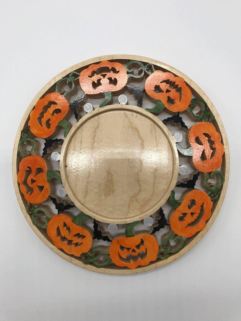 Handmade Hand-painted Wood Halloween Spooky Pumpkins Candle image 0