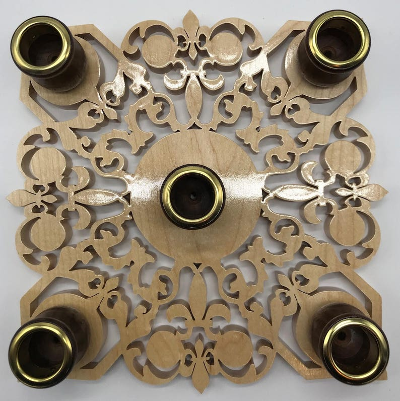 Handmade Wood Fretwork 5-Candle Fleur de Lis Advent Wreath image 0