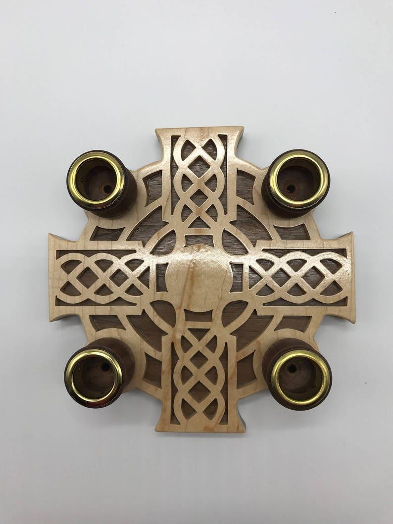 Handmade Wood Fretwork 4-Candle Celtic Advent Wreath Scroll image 0