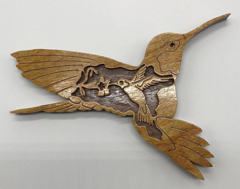 Handmade Wood Natures Majesty Hummingbird Wildlife Fretwork image 0