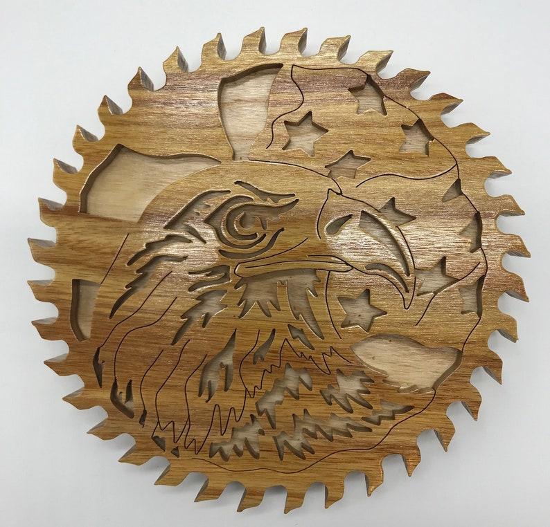 Handmade Wood Patriotic Eagle and Flag Circular Saw Blade Wall image 0