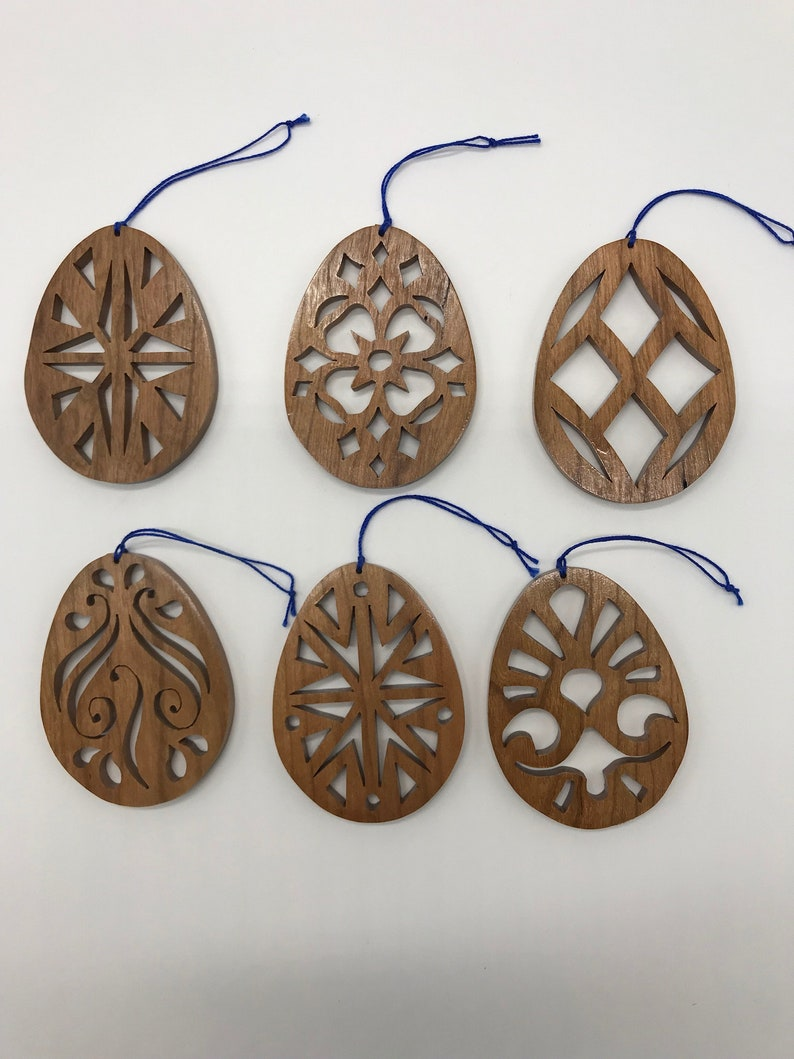 Handmade Wood 6-piece Floral & Geometric Easter Ornament Set image 0