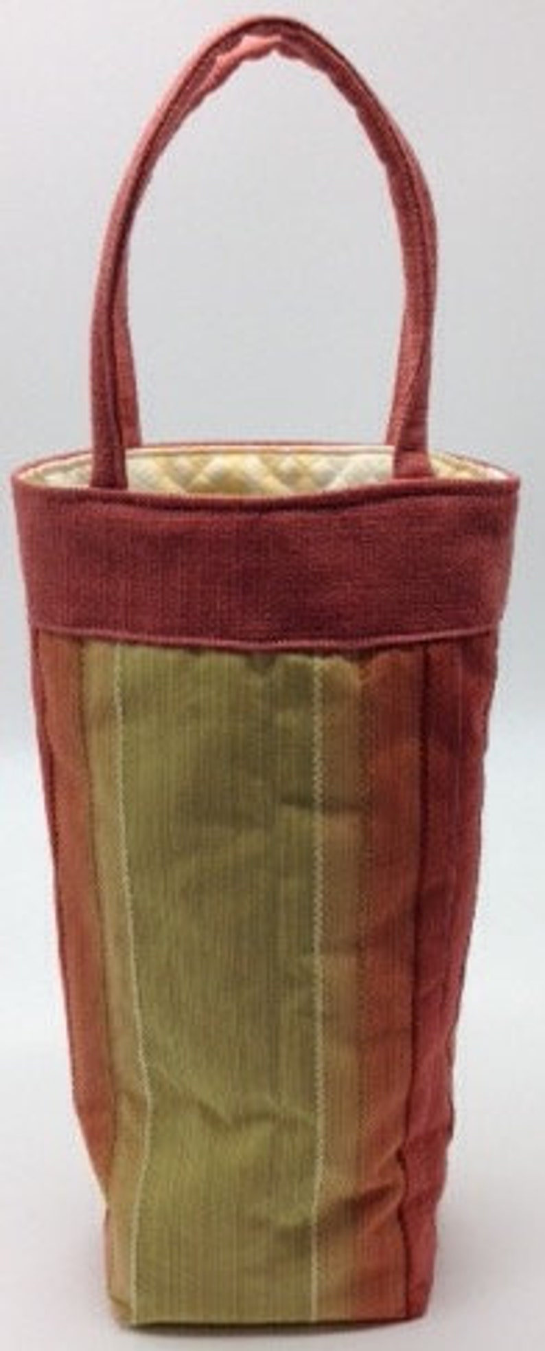 Handcrafted Sewn Recycled Fabric Wine Bottle Tote Bag Orange image 0