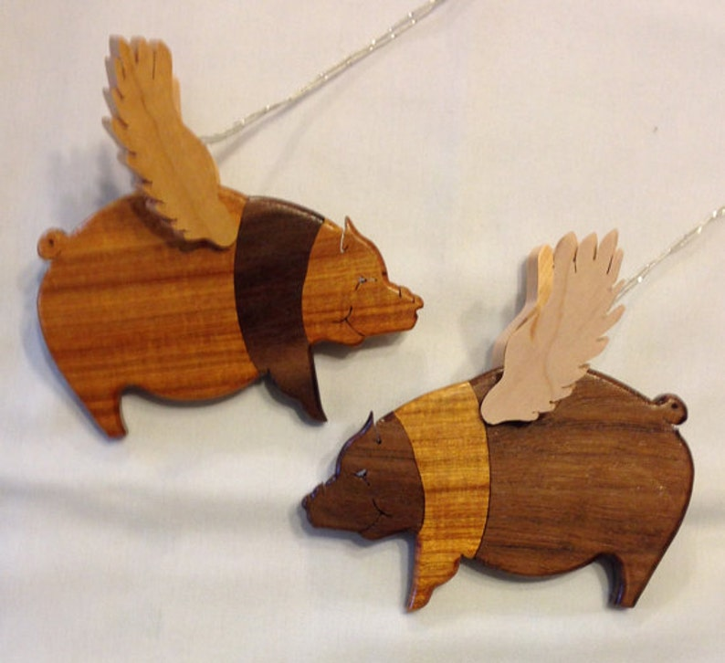 Handmade Wood 2-piece Segmentation Flying Pigs Ornament Set image 0