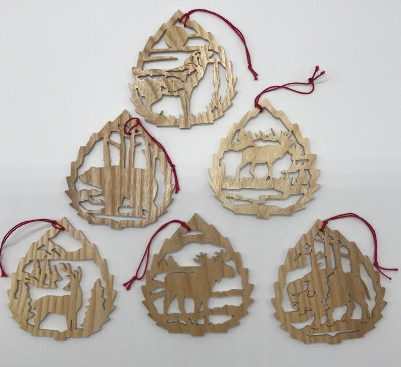 Handmade Wood 6-piece Fretwork Wildlife Ornament Set Ash image 0