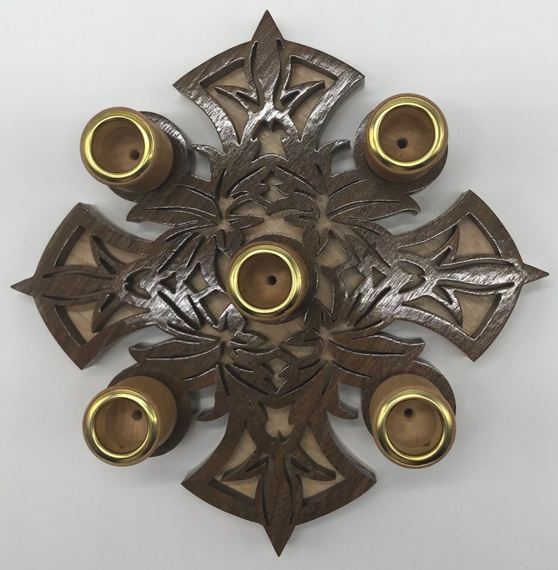 Handmade Wood Fretwork 5-Candle Leaf Cross Advent Wreath image 0
