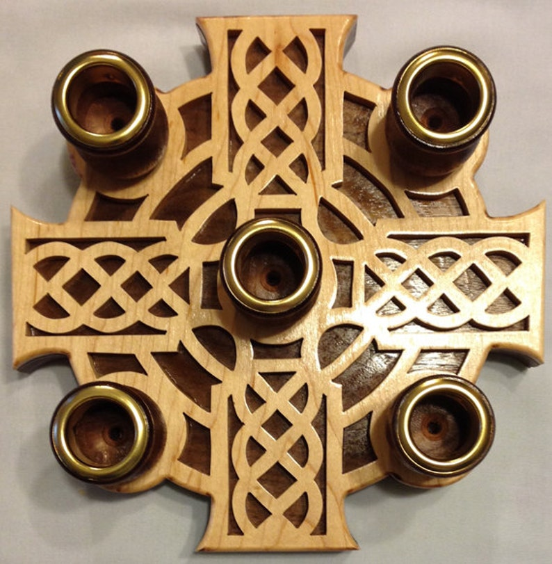 Handmade Wood Fretwork 5-Candle Celtic Advent Wreath Scroll image 0