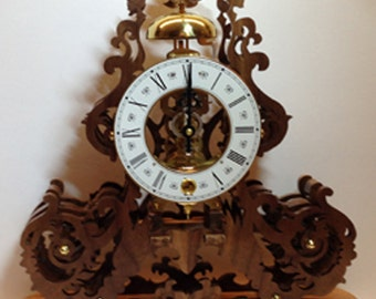 Walnut Skeleton Clock