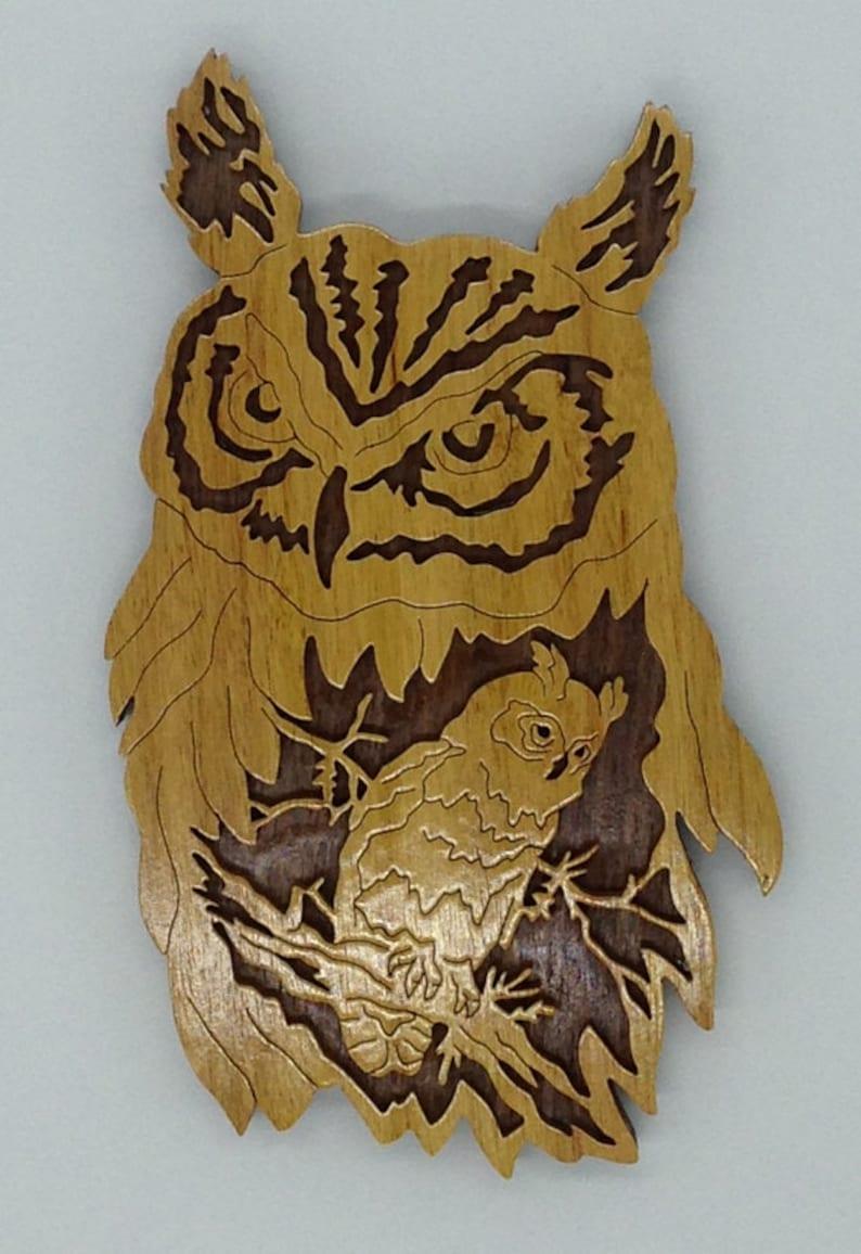 Handmade Wood Natures Majesty Owl Wildlife Fretwork Plaque image 0