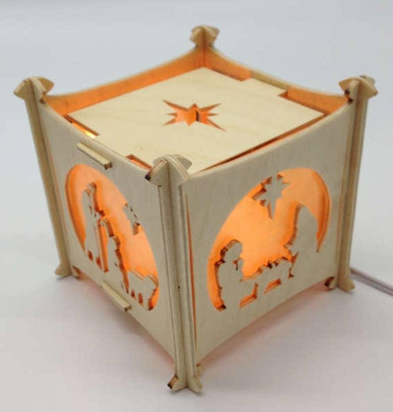 Handmade Plywood 4-side Nativity Nightlight Gold Sparkle image 0