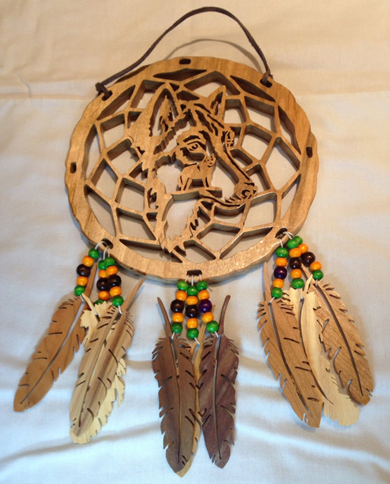 Handmade Wood Wolf Face Dream Catcher with Wood Feathers & image 0