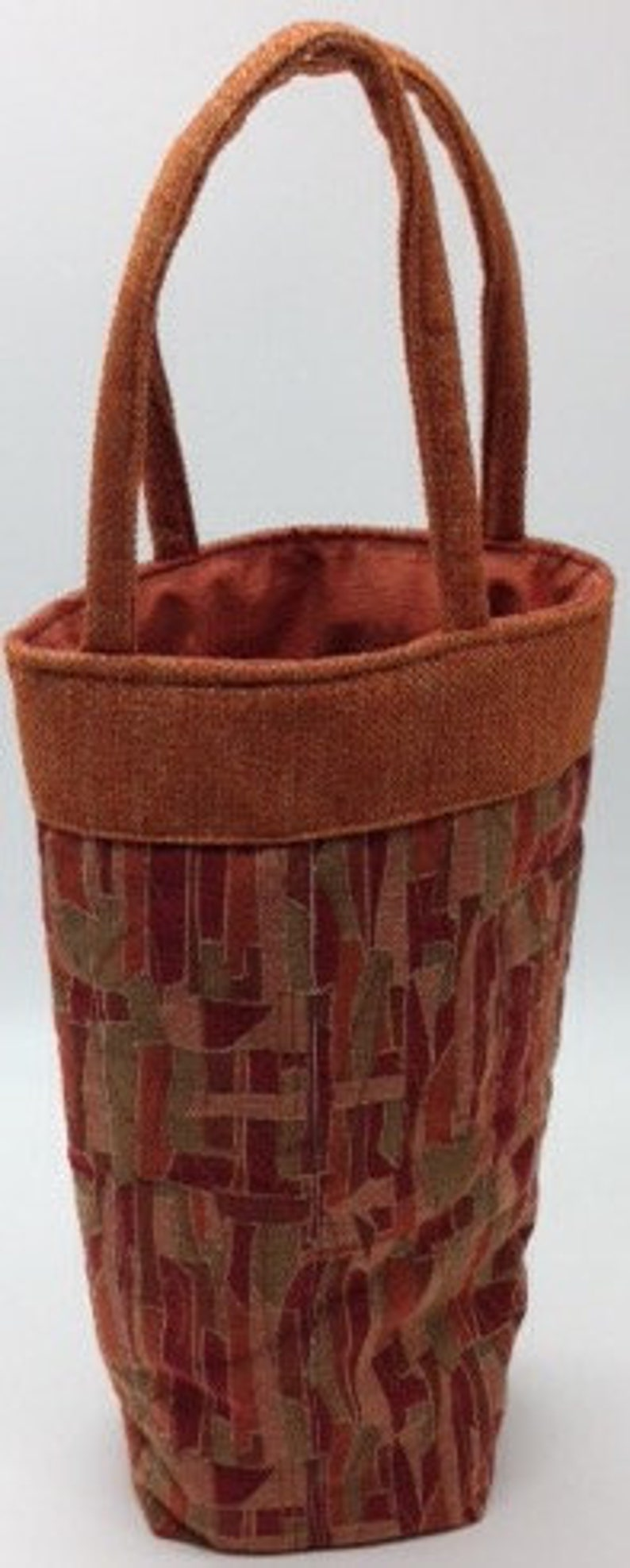 Handcrafted Sewn Recycled Fabric Wine Bottle Tote Bag Rust image 0