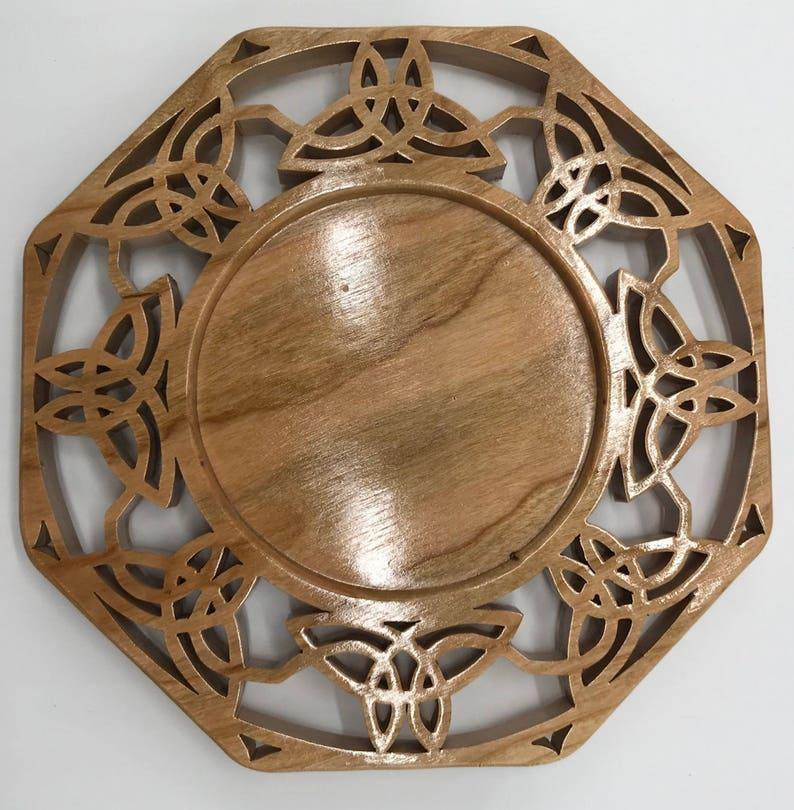 Handmade Wood Triquetra Celtic Trinity Candle Tray Holder image 0