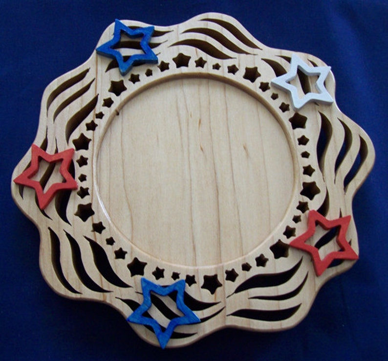 Handmade Hand-painted Wood Patriotic Candle Tray Holder image 0