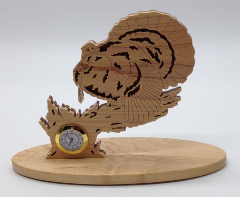 Handmade Wood Fretwork Nature's Majesty Turkey Desk Clock image 0