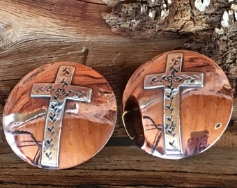 Sterling Silver Crosses on Copper Bridle Conchos