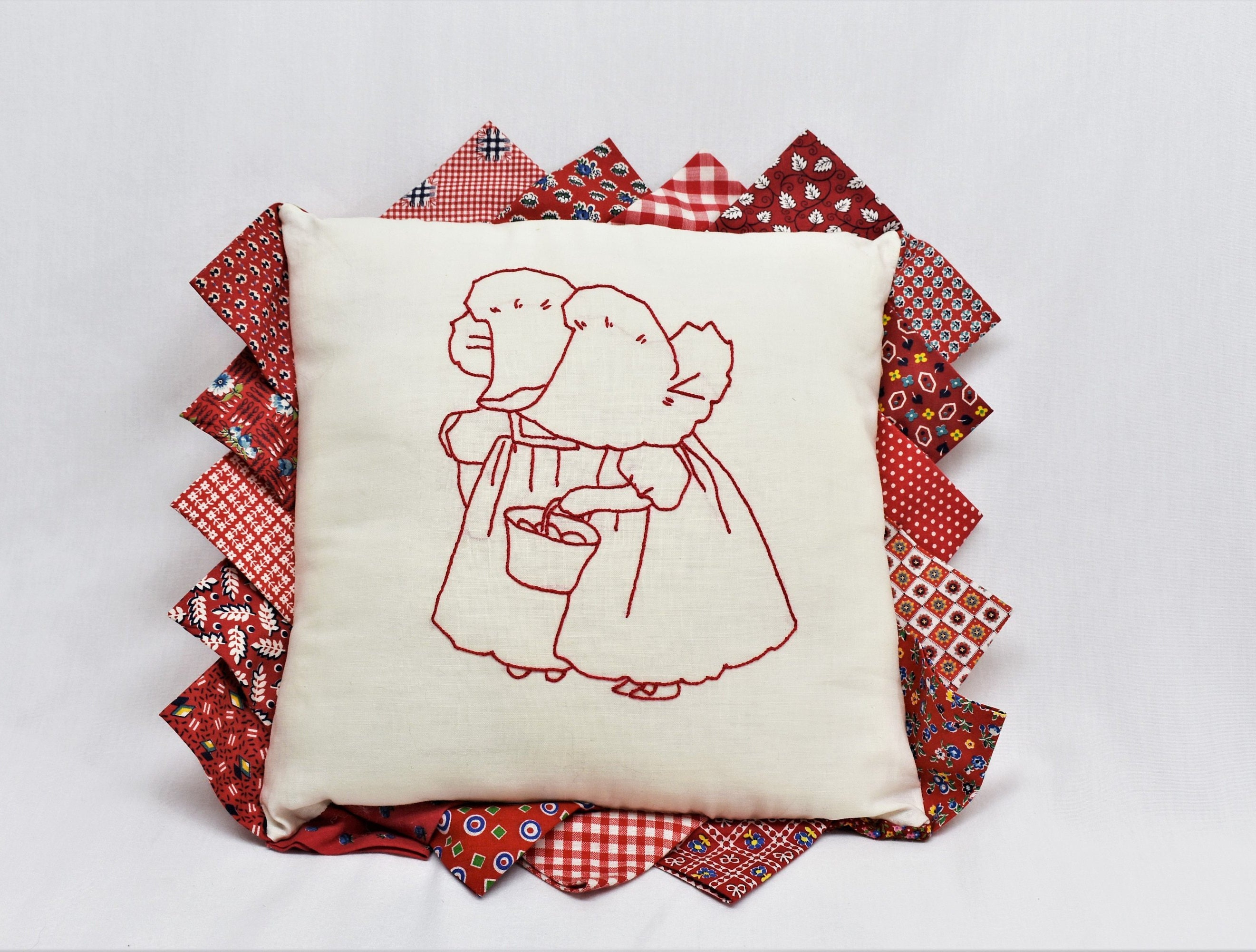 3d32f0640 Sunbonnet Sue Pillow, Sunbonnet Babies Handmade Throw Pillow, Baby's Room  Girl's Room Vintage Style Decorative Pillow, Red Patchwork Pillow
