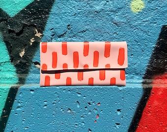 Lachs Rosa und lebendige rote Hand bemalt, Geldbörse, Pinsel-Schriftzug-Design-Tasche, Farbe Block Frau Tasche, kühnen abstrakten Muster Kupplung