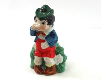 Vintage porcelain Pinocchio figurine - bell, fairy tale, J.S.N.Y. Taiwan, Jeffrey Snyder New York, children's storybook characters, funny!