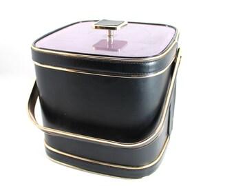 Vintage mid century modern ice bucket - midcentury, gold-tone and black, leather-like vinyl - bar accessories, decor