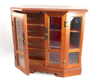 LARGE vintage wooden jewelry box - wood, mid century modern armoire-style with doors, red velvet interior, 1970s, 1980s