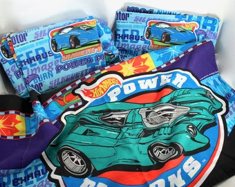 RESERVED FOR C. Vintage 1997 Hot Wheels cars bed sheets - twin size, bedsheets, flat, fitted, pillowcase, 1990s, 90s, toys, Power Pistons, T