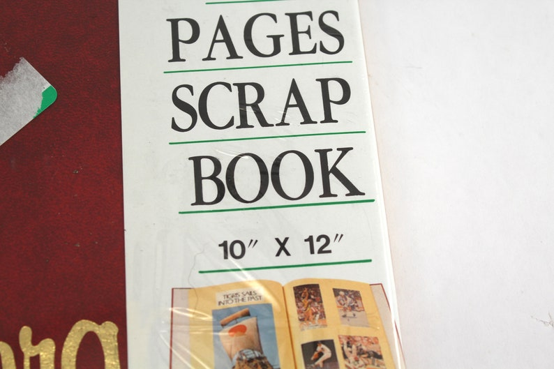 empty unused SEALED vintage scrapbook 36 sheets or pages! red vinyl cover Scrap Book in gold lettering photo album