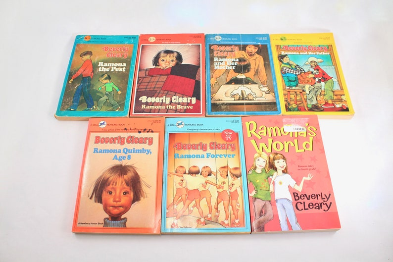 Seven vintage Ramona Quimby Beverly Cleary books - The Pest, The Brave, and  her Mother, and her Father, Age 8, Forever, World, lot, set