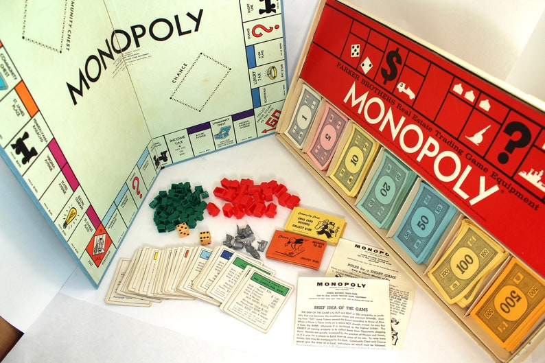 Vintage 1960s Monopoly Board Game Parker Brothers 60s Etsy