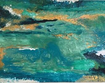 "18in x 24in turquoise, gold, dark blue, white, blue, texture, mache ann resin, ""A q U a t i c."""
