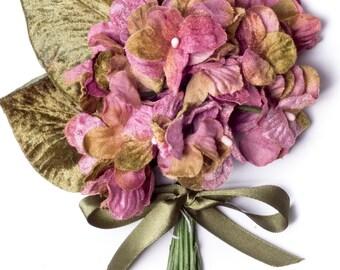 Floral Design Boutonnieres ML14 Pink Blush Silk Millinery Leaves Vintage German for Bridal Fascinators Hats