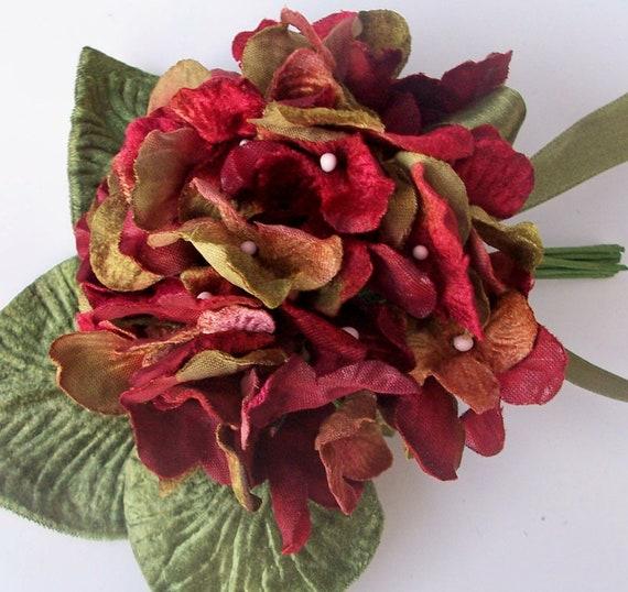 VELVET /& ORGANZA HYDRANGEAS BURGUNDY /& GREEN MILLINERY FLOWERS
