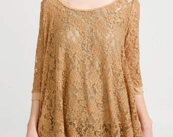 Lace Swing top. Lace top. Mustard top. Tan top. Loose fit top. Loose fit lace top. Romantic clothing. Lace top. Lace clothing. lace