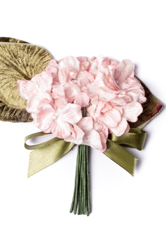 scrapbooking and craft flowers vintage style velvet posy Burgundy velvet hydrangea posy millinery couture millinery flowers