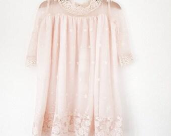 Angel lace dress. Christening lace dress. girls lace dress. pale pink lace dress. toddler lace dress. flower girl lace dress.