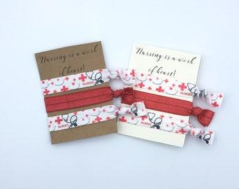 Nurse Gift, Nurse Appreciation Gift, Nurse Appreciation Week, National Nurses Week, Nurse Christmas Gift, Hair tie Gifts, Elastic Hair Ties