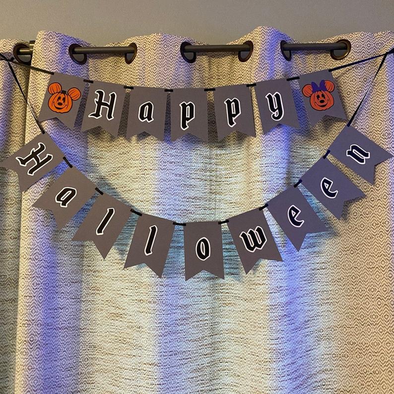 Happy Halloween Mickey /& Minnie Inspired Pumpkin Banner